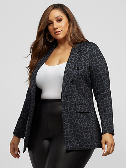 Plus Size Aurelia Leopard Print Blazer - Fashion To Figure