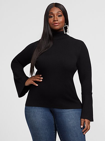 Plus Size Aurelia Turtleneck Bell Sleeve Sweater - Fashion To Figure