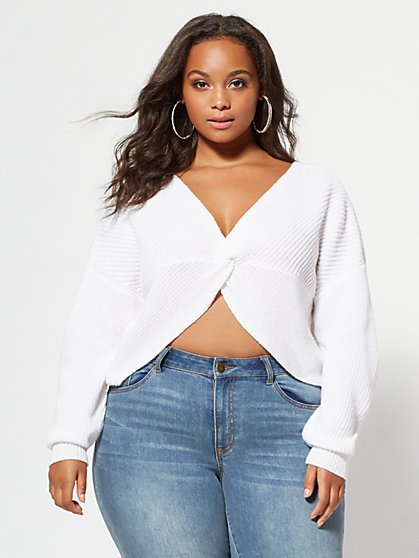 Plus Size Autumn Knotted Sweater - Fashion To Figure