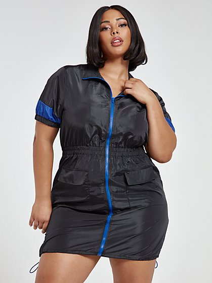 Plus Size Autumn Windbreaker Dress - Fashion To Figure