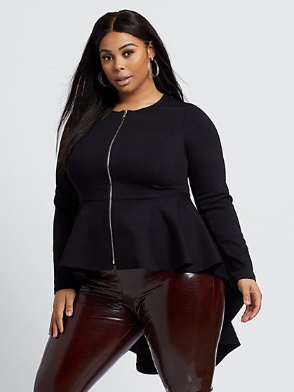 Plus Size Ava Zip-Front Hi-Lo Peplum Jacket - Fashion To Figure