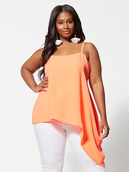 Plus Size Avanti Asymmetric Hem Tank Top - Fashion To Figure