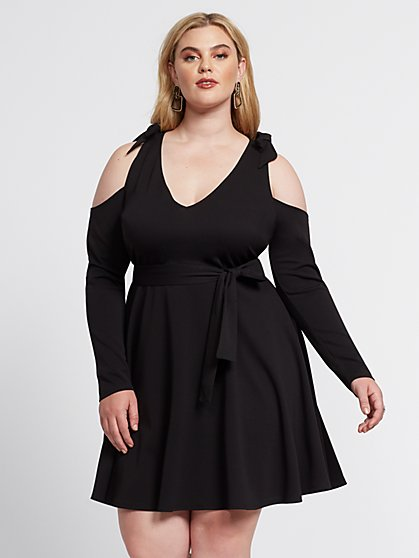 Plus Size Averie Cold Shoulder Flare Dress - Fashion To Figure