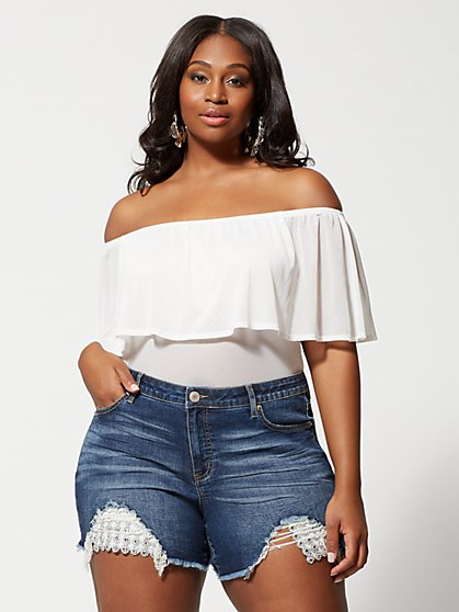Plus Size Avery Mesh Off Shoulder Ruffle Top - Fashion To Figure