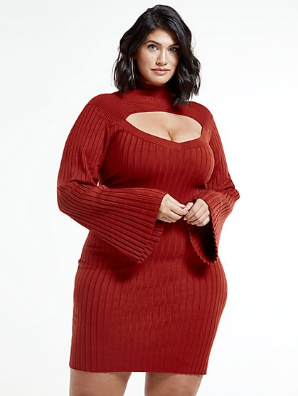 Plus Size Aviana Cutout Sweater Dress - Fashion To Figure