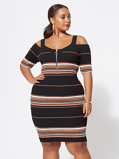 Plus Size Ayla Zip Sweater Dress - Fashion To Figure