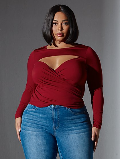 Plus Size Azariah Cut Out Wrap Top - Fashion To Figure