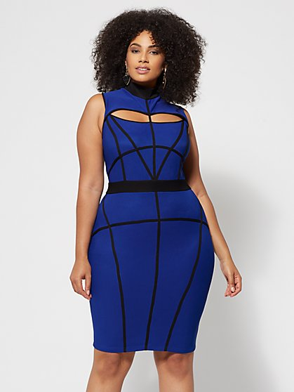 Plus Size Azura Cage Bodycon Dress - Fashion To Figure