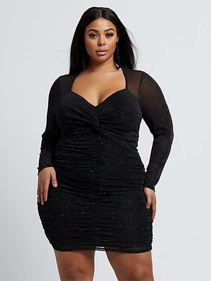 Plus Size Bailey Shimmer Mesh Bodycon Dress - Fashion To Figure