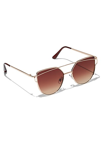 Plus Size Bar Detail Cat-Eye Sunglasses - Fashion To Figure