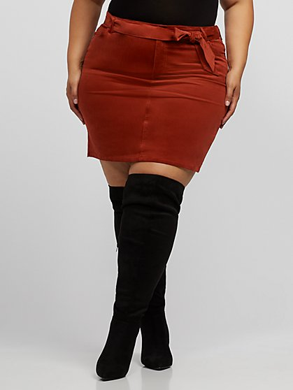 Plus Size Bardot Corduroy Tie-Waist Skirt - Fashion To Figure