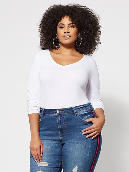 Plus Size Basics - Long Sleeve V-Neck Top - Fashion To Figure