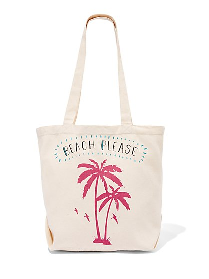 Beach Please Canvas Tote Bag - New York & Company