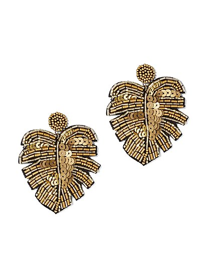 Plus Size Beaded Leaf Earrings - Fashion To Figure