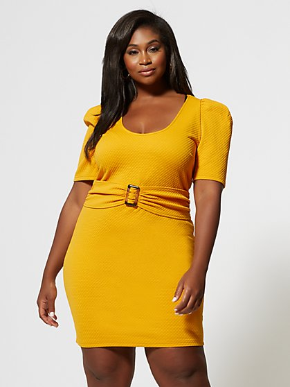 Plus Size Beatrix Belted Puff Sleeve Dress - Fashion To Figure