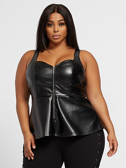 Plus Size Beatriz Faux-Leather Peplum Top - Fashion To Figure