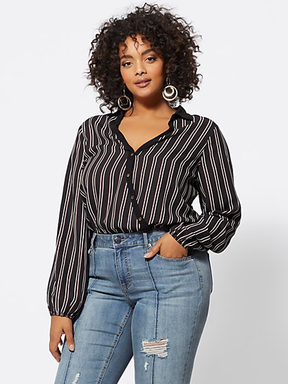 Plus Size Becca Striped Bodysuit - Fashion To Figure