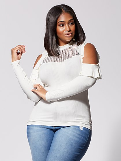 Plus Size Becka Cold-Shoulder Knit Top - Fashion To Figure