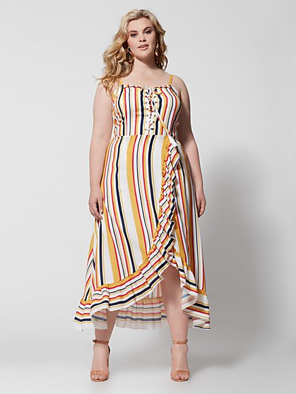 Plus Size Bedelia Stripe Ruffle Maxi Dress - Fashion To Figure