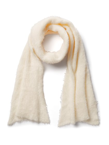 Plus Size Beige Fuzzy Scarf - Fashion To Figure