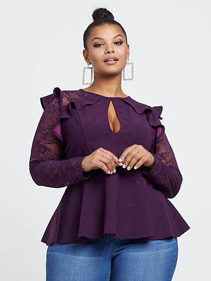 Plus Size Belinda Lace Ruffle and Peplum Top - Fashion To Figure