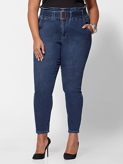 Plus Size Belted Paperbag Skinny Jeans - Fashion To Figure
