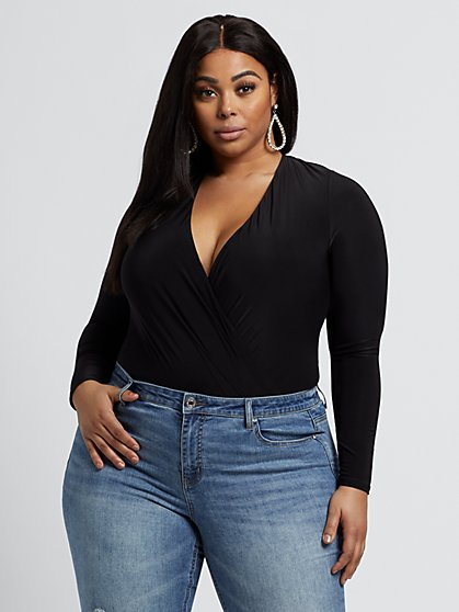 Plus Size Bentley Drape Bodysuit - Fashion To Figure