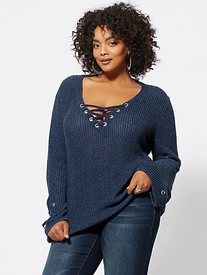 Plus Size Bethany Lace-Up Sweater - Fashion To Figure