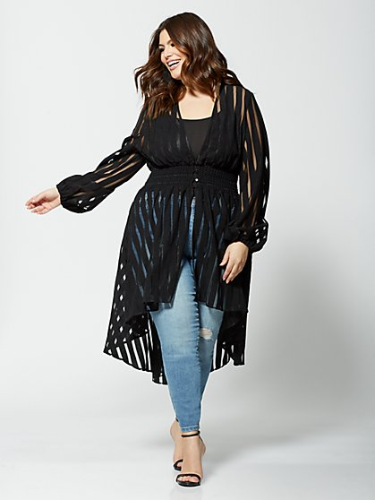 Plus Size Bethany Shadow Striped Duster - Fashion To Figure