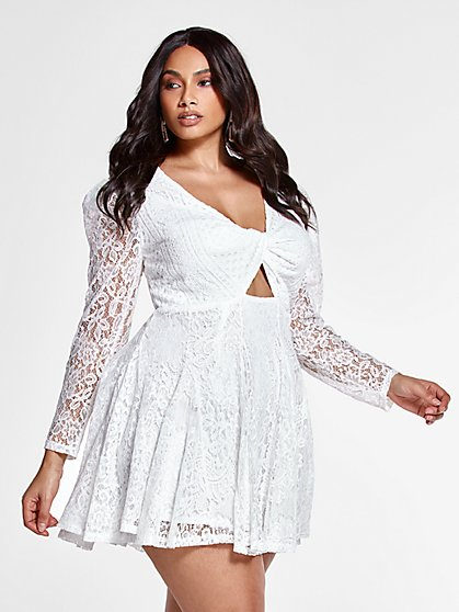 Plus Size Bethany Twist Front Lace Dress - Fashion To Figure