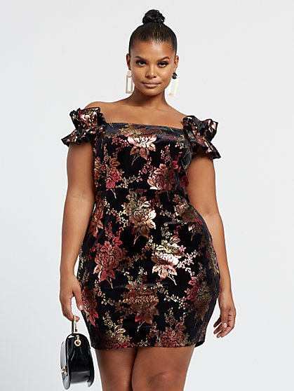 Plus Size Betsey Off Shoulder Velvet Foil Dress - Fashion To Figure