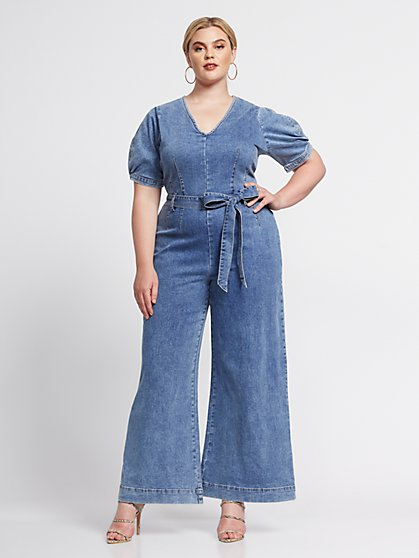Plus Size Bette Wide-Leg Denim Jumpsuit - Fashion To Figure