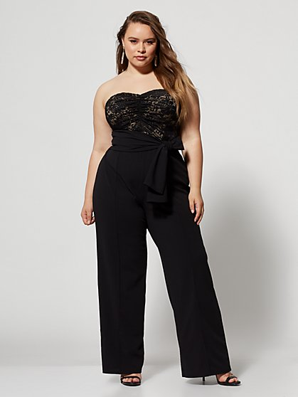 Plus Size Beverley Lace Bodice Jumpsuit - Fashion To Figure