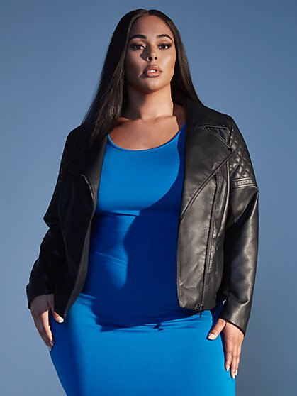 Plus Size Bianca Faux Leather Moto Jacket - Fashion To Figure
