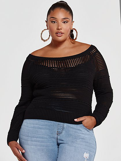 Plus Size Bianca Pointelle Knit Cropped Sweater - Fashion To Figure