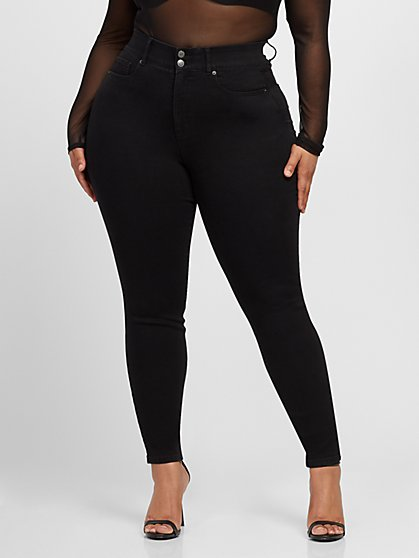 Plus Size Black Curvy Skinny Jeans - Short Inseam - Fashion To Figure