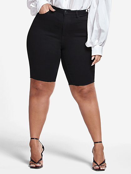 Plus Size Black Denim Bermuda Shorts with Raw Hem - Fashion To Figure