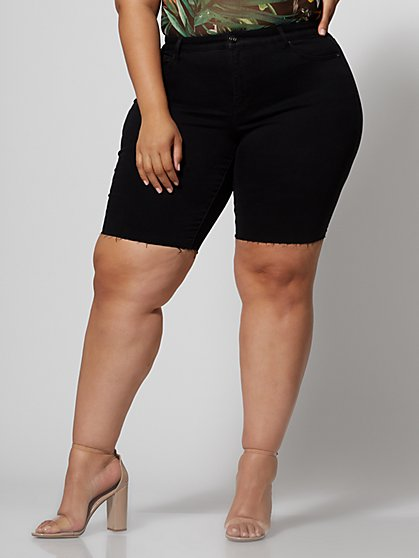 9425b43e522 Plus Size Black Denim Bermuda Shorts - Fashion To Figure ...
