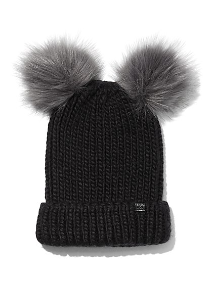 Plus Size Black Double Pom-Pom Beanie - Fashion To Figure