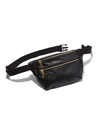 Plus Size Black Double Zipper Fanny Pack - Fashion To Figure