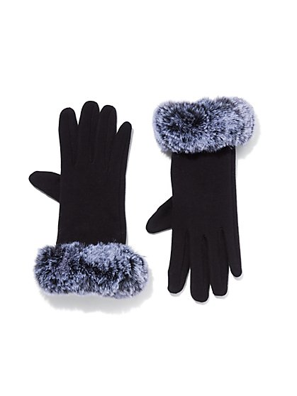 Plus Size Black Faux-Fur Lined Gloves - Fashion To Figure