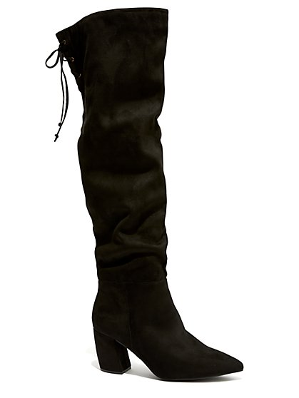 Plus Size Black Faux-Suede Over The Knee Boots - Wide Width - Fashion To Figure