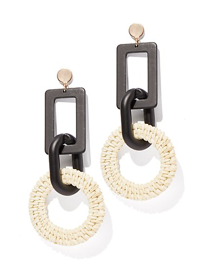 Plus Size Black Geometric Dangle Earring - Fashion To Figure