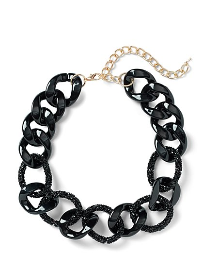 Plus Size Black Glitter Chain Necklace - Fashion To Figure