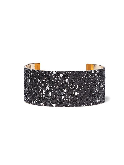 Plus Size Black Glitter Rhinestone Cuff Bracelet - Fashion To Figure