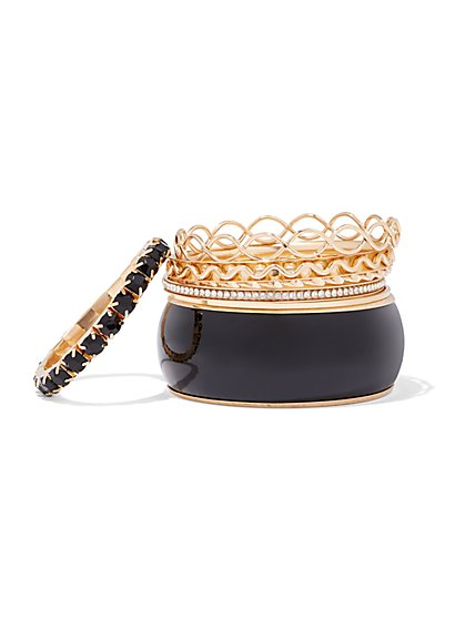 Plus Size Black & Gold-Tone Bangle Set - Fashion To Figure