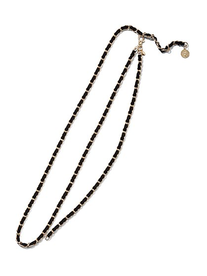 Plus Size Black & Gold-Tone Pendant Chain Belt - Fashion To Figure