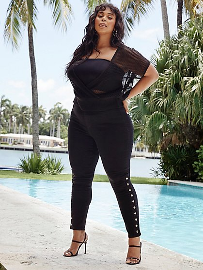 Plus Size Black High-Rise Snap Detail Jeggings - Fashion To Figure