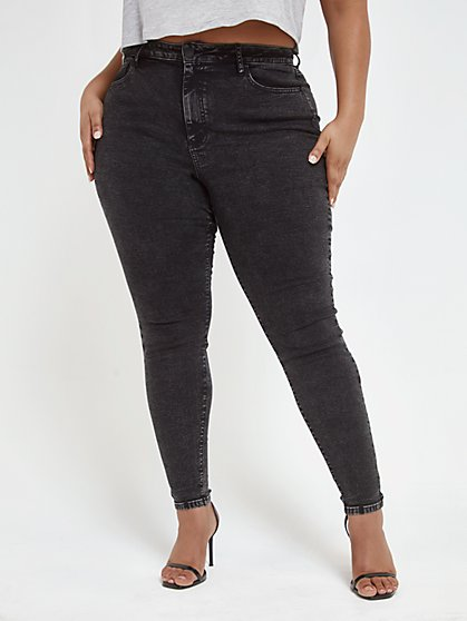 Plus Size Black High Rise Super Skinny Jeans - Tall Inseam - Fashion To Figure