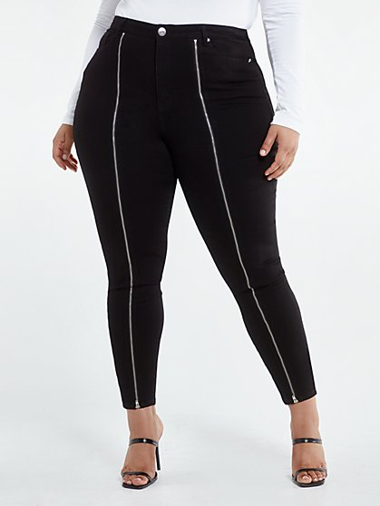 Plus Size Black High Rise Zip Front Skinny Jeans - Fashion To Figure